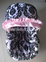 Wholesale baby car seat cover damask print pink satin ruffle cotton with infant with canopy