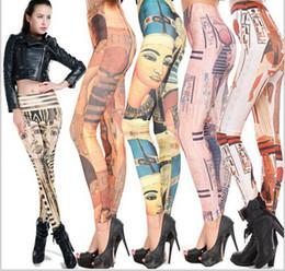 Pintura de estilo nacional egipcio mezcla transparente de impresión de colores impresos finos pantalones apretados Diseños Poliéster Leggings polyester print leggings on sale desde polainas de la impresión de poliéster proveedores