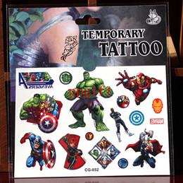 Transfert d'eau autocollants de tatouage à vendre-Vente en gros 100 pcs Cartoon Les Avengers jouets tatouage autocollant transfert de l'eau Cartoon temporaire enfants tatoos
