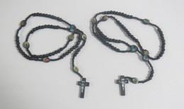 Wholesale one dozen Black Wooden Catholic Rosary Cross Father Prayer Bead Jesus Wood Crucifix Christian Religious Islam Necklace