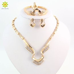 Women Party Gold Plated African Bead Jewelry Sets Crystal Necklace Bangle Earrings Ring Wedding Dress Accessories Costume
