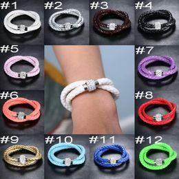 Wholesale 2015 Fashion Shambhala Bracelets Handmade PU Braid Charm Bracelets Drilled Candy Color Magnetic SnapWristband