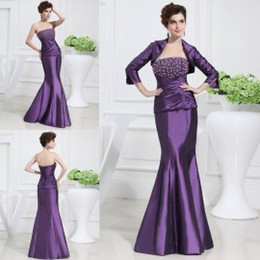 Wholesale Suit Jacket Length Chart - Designer Mother Dresses with Jackets Strapless Beaded Taffeta Mermaid Evening Gowns Mother of the Bride Groom Dresses with 3 4 Long Sleeves