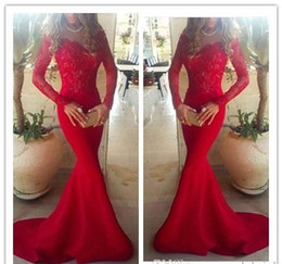 Elegant 2015 Mermaid Evening Dresses with Long Sleeves Sheer Lace Sweep Train Sexy Prom Dresses Vintage Formal Dresses for Wedding