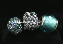 S925 Sterling Silver Charms and Murano Glass Bead Set with Charm Box Fits European Pandora Jewelry Charm Bracelets-Su004