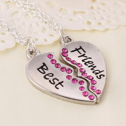 Wholesale 2016 New Fashion Trend Best price New Arrival Peach Heart Letters Best Friends Combo Pendant Necklace ZJ