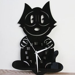 Wholesale Funlife Creative FELIX THE CAT ANIMATED Wall Clock Cartoon Designer Living Room Clock on Wall Home Decor wc1434