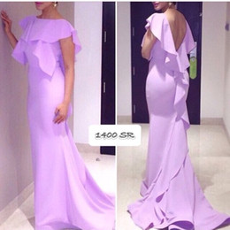 Free Shipping Lavender Bateau Cap Sleeve Mermaid Long Formal Evening Dresses Prom Wear Backless Sexy Arabic Evening Gowns Party Dress Chic