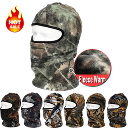 Wholesale-Camouflage Thermal Fleece Balaclava Warm Winter Cycling Ski Neck Masks Hoods Paintball Hats Motorcycle Tactical Full Face Mask