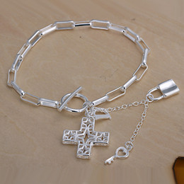 Hot sale best gift 925 silver Checkered cross bracelet hanging DFMCH170,brand new fashion 925 sterling silver plated Chain link bracelets