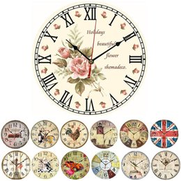Wholesale F85 Vintage Wooden Wall Clock Large Shabby Chic Rustic Kitchen Home Antique Style