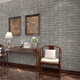 Wholesale Chinese D Antique Brick Wallpaper Matte Pattern Brick Wallpaper Hotel Restaurant And Bar Restaurant Hotel Gray Brick Wall Paper