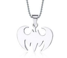 wholesale cheap 7 style chain necklace Bat pendant Stainless steel pendant Titanium steel necklace pendant Men and women pendant
