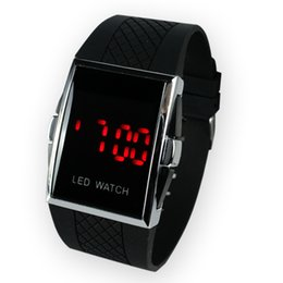 50 pcs New Listed fast Shipping Square Stainless Steel Back woman Men s Digital Electronic LED Watch Red Light