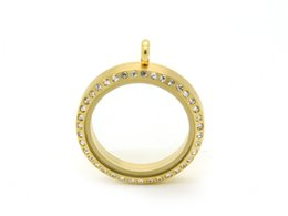 stainless steel Crystal Gold Round Magnetic Floating Charm Lockets 30mm and 25mm are available