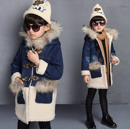 Wholesale Big Children Outerwear Coats Denim Patchwork Ox Horn Button Winter Youth Coat Thicken Warm Fur Hooded Tops For Big Kids K1136