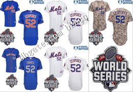 Wholesale 2015 World Series Patch NY New York Mets Jersey Yoenis Cespedes Baseball Jersey Blue Camo Grey White Embroidery logos stitched S XL