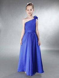 A-line One Shoulder Sleeveless Floor-length Chiffon Royal Blue Junior Bridesmaid Dress