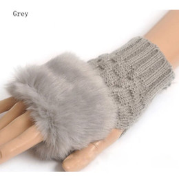 fashion Women Faux Rabbit Fur Hand Wrist Winter Warmer Fingerless Long Mitten Gloves free shipping