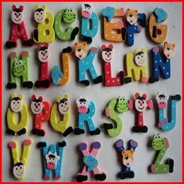 1040PCS New colorful animal wooden refrigerator magnet alphabet A-Z Letters Wooden cartoon Fridge Magnets 26pcs Kids Education toys fedex