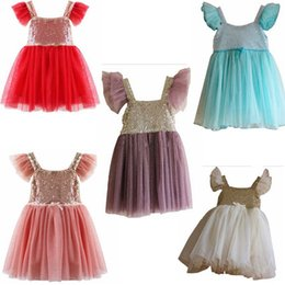 Wholesale DHL Fedex Ship Fancy Fully lined Sequines Tutu dress Shoulders with tulle birthday party wedding Sequins Party Dresses Child TUTU Dresses