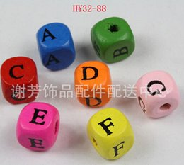 600pcs 10mm square A-Z alphabet beads DIY jewelry beads spacer beads loose beads Wood Colorful letter wood beads accessories