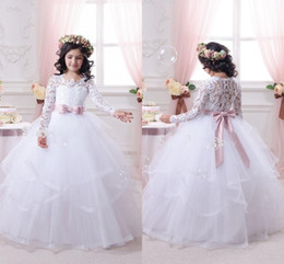 White Ball Gown Organza Flower Girl Dresses PUffy Princess Long Sleeves Lace Bridal Dresses With Pink Ribbon Bow Sash Pageant Gowns