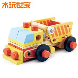 Wholesale Toys of Wood Oxford Wooden Toys wooden Nut And Bolt Building Blocks Construction Kit make Bulldozer Tractor Rootein set Hot sale