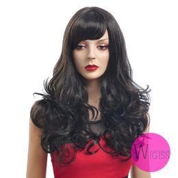 Wholesale 23 inch Female Glamorous Charming Fashion Long Dark Brwon Black Wave Kanekalon Fiber Synthetic Women Wig Hair g H9331Z