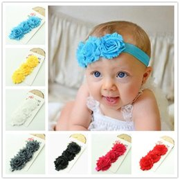 Wholesale Hair Accessories Hair Bands Headbands for Baby Kids Hair Accessories Girl Baby Headband Elastic Hair Band Shabby Flower Rose Wedding Barrett