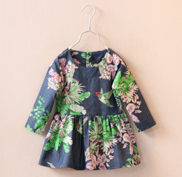 Wholesale Factory Price spring girls dress new baby girl floral birds print long sleeve cotton dresses kids pleated child brand designer clothes