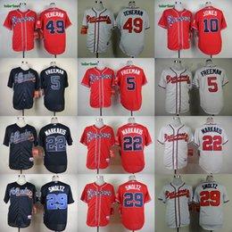 Wholesale 2016 Mens Atlanta Braves Freddie Freeman Nick Markakis Julio Teheran Chipper Jones Baseball Jerseys Cream