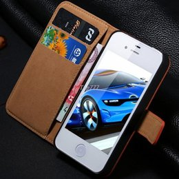 Wholesale 1pcs Luxury Real Cowhide flip Case For iPhone G S Wallet Stand Leather Cell phone bags for iphone5 Card Slot Affordable FLM