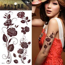 Brown Rose Tattoo Temporary Henna Tattoo Sticker Body Art tatuagem tatuaje