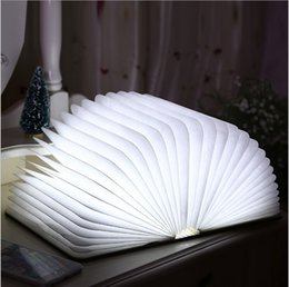 2016 new arrivals Novelty Wooden Folding LED Night Light Led Lamp Booklight Rechargeable Folding Book Nightlight Luminaria USB Port