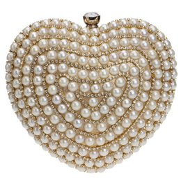 Wholesale-Beaded Women Evening Bags Diamonds Finger Rings Small Purse Day Clutches Handbags Silver Gold Black Pearl Wedding Bags