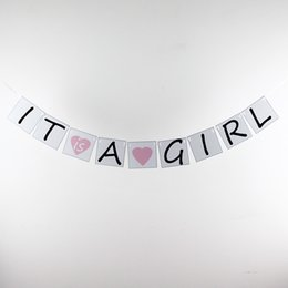 Wholesale-Paper Baby Shower Banners- It is a Girl - Birthday Photo Prop Card Bunting -Personality Sign - Vintage Party Decoration