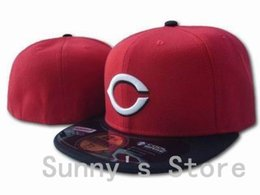 Wholesale-Cincinnati Reds Closed Sports Caps For Men Women White Letter C Baseball Team Fitted Hats Red Top With Black Flat Brim One Piece