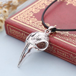 Wholesale Silver Plated Raven Bird Skull Necklace Alloy Harry Potter Bird Skull Pendant Necklace Jewelry