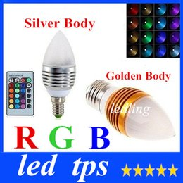 New Arrival RGB E27 E14 5W Led Cande Lights Frosted Cover 16 Colors Change Led Bulbs Light Silver Golden Shell AC85-265V +CE ROHS
