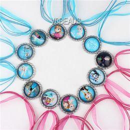 Wholesale Mixed Frozen Necklace Charm Ribbon Frozen Necklaces Elsa Anna Olaf Hans Deer Necklace Dress Accessories