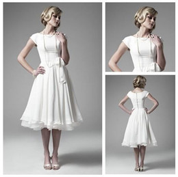 2015 in stock White Chiffon ankle Length Short Sleeve Wedding Dresses Bridal Gowns Beautiful bridesmaid dresses cheap price free shipping