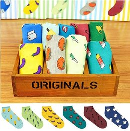 Wholesale-Fashion designed stylish socks street fruits and vegetables male or female socks boxed ankle sock lovers gifts