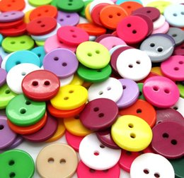Hot sale Wholesale Mixed Color Round Shape 2 Hole Resin Button Fit Sewing Scrapbooking Apparel Sewing 9mm  1cm 100pcs lot