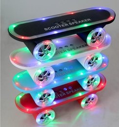 Wholesale 2016 Newest gift Skateboard Bluetooth Wireless scooter Speaker Mobile Audio Mini Portable Speakers with Led Light Free DHL Shipping