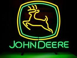"New John Deere Glass Neon Sign Light Beer Bar Pub Sign Arts Crafts Gifts Lighting Size: 26"""