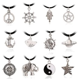 Wholesale New Statement Necklace European And American Fashion Simple Anchor Peace Sign Necklace Accessories Manufacturers Selling Nz0386