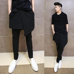 Wholesale-Korean Hip Hop Fashion Dance Pants For Men Black Drop Crotch Skirt Skinny Harem Pants Trousers Nightclub Performance AY953