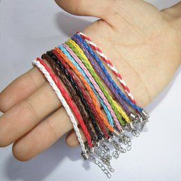 many Colors Leather Braided Charm Chain Bracelets For European Bead 925 Silver plating obster Clasp Link Bracelet 3mm-4mm