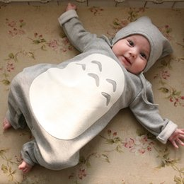 Wholesale 2015 Kid Infant Cartoon Romper with Hats Newborn Baby Totoro Design Cute One Pieces Bodysuits Rompers Boys Girls Toddler Fall Winter